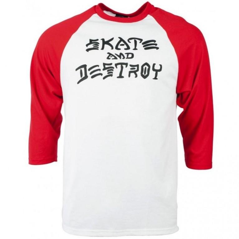 Реглан Thrasher Skate and Destroy Raglan White/Red
