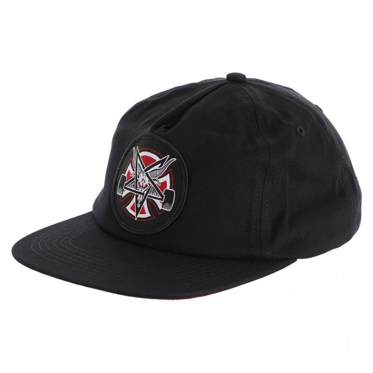 Бейсболка independent x thrasher pentagram cross adjustable snapback hat black