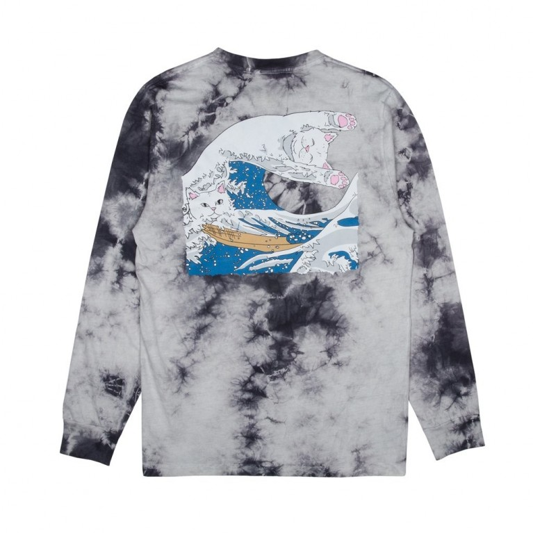 Лонгслив Ripndip Great Wave L/S Grey Tie Dye