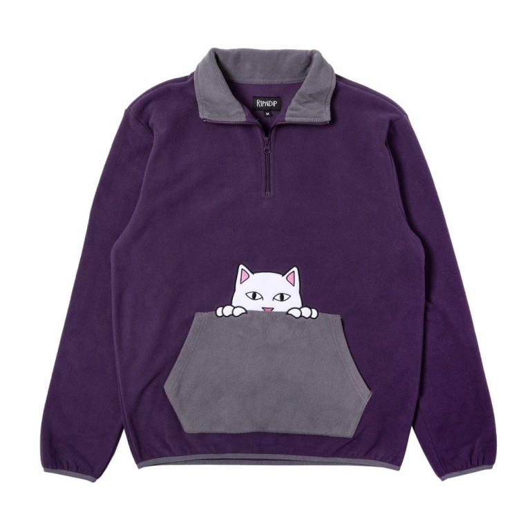 Кофта Ripndip Peeking Nerm Brushed Fleece Half Zip Sweater Purple / Grey