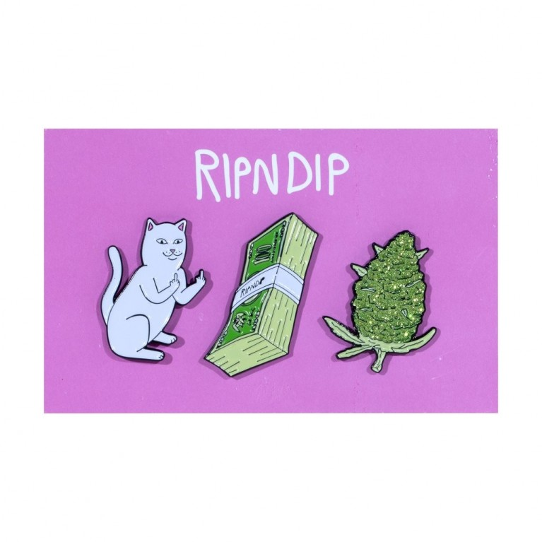 Значок Ripndip Pu$$y, Money, Weed Pin (set of 3)