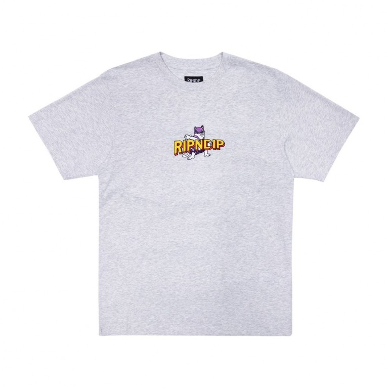 Футболка Ripndip Captain Nermal Pants Embroidered Tee Heather Grey