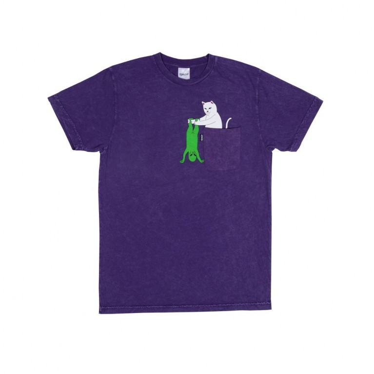 Футболка Ripndip Break Yo Self Pocket Tee Purple Mineral Wash