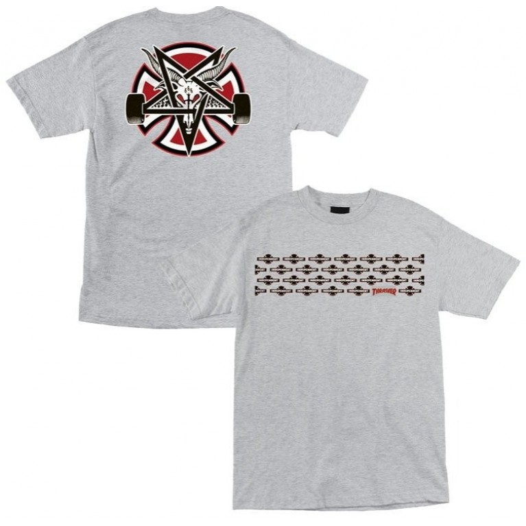 Футболка Independent x Thrasher Pentagram Cross T-Shirt Grey Heater