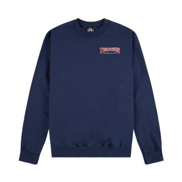 Кофта Thrasher Embroidered Outlined Crewneck Navy