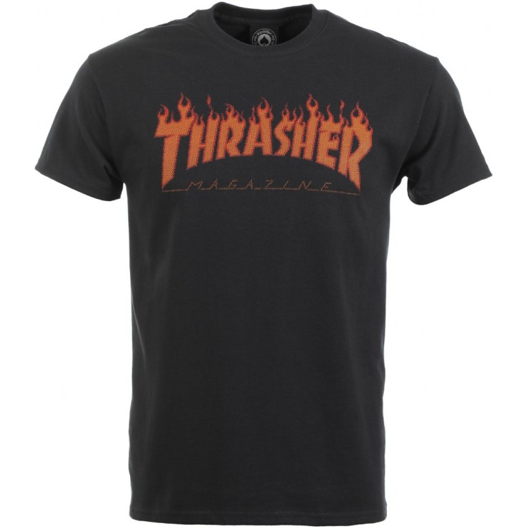 Футболка Thrasher FLAME HALFTONE BLACK