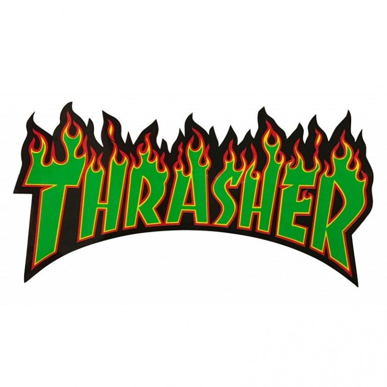Стикер Thrasher Flame Logo Large green