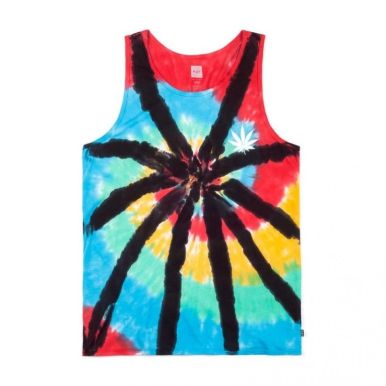 Майка Huf Leaves Tie Dye Tank Black Wash