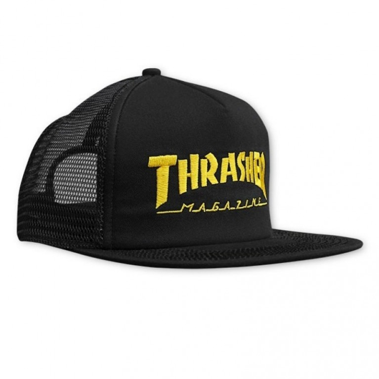 Кепка Thrasher Embroidered Logo Mesh Cap Black/Yellow