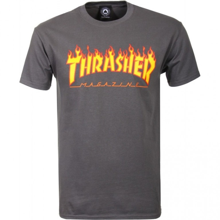 Футболка Thrasher Flame Logo T-Shirt Grey