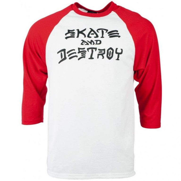 Реглан Thrasher Skate And Destroy Raglan White Red