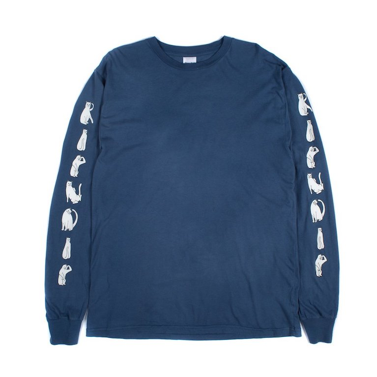 Лонгслив RIPNDIP Cats L/S Washed Blue
