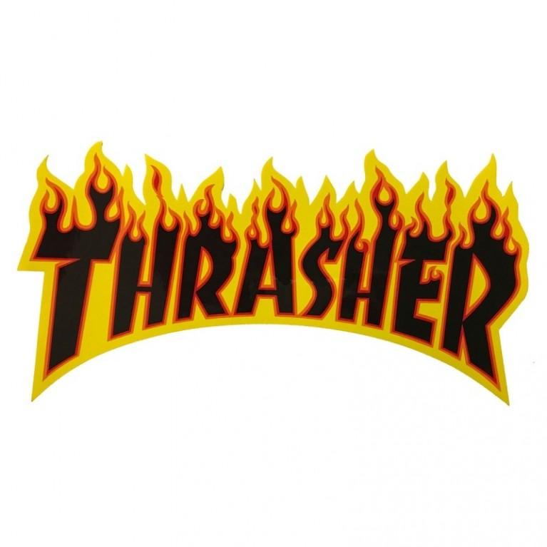 Стикер Thrasher Flame Logo Medium yellow