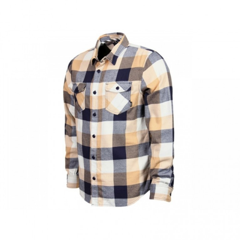 Рубашка Vans Box Flannel Long Sleeve Shirt - Latte/Navy