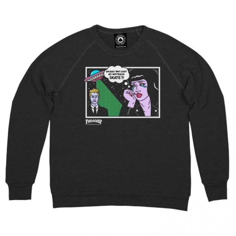 Кофта Thrasher Girls Alien Boyfriend Crewneck Black