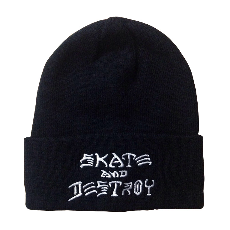 Шапка Thrasher Skate and Destroy Embroidered Beanie Black